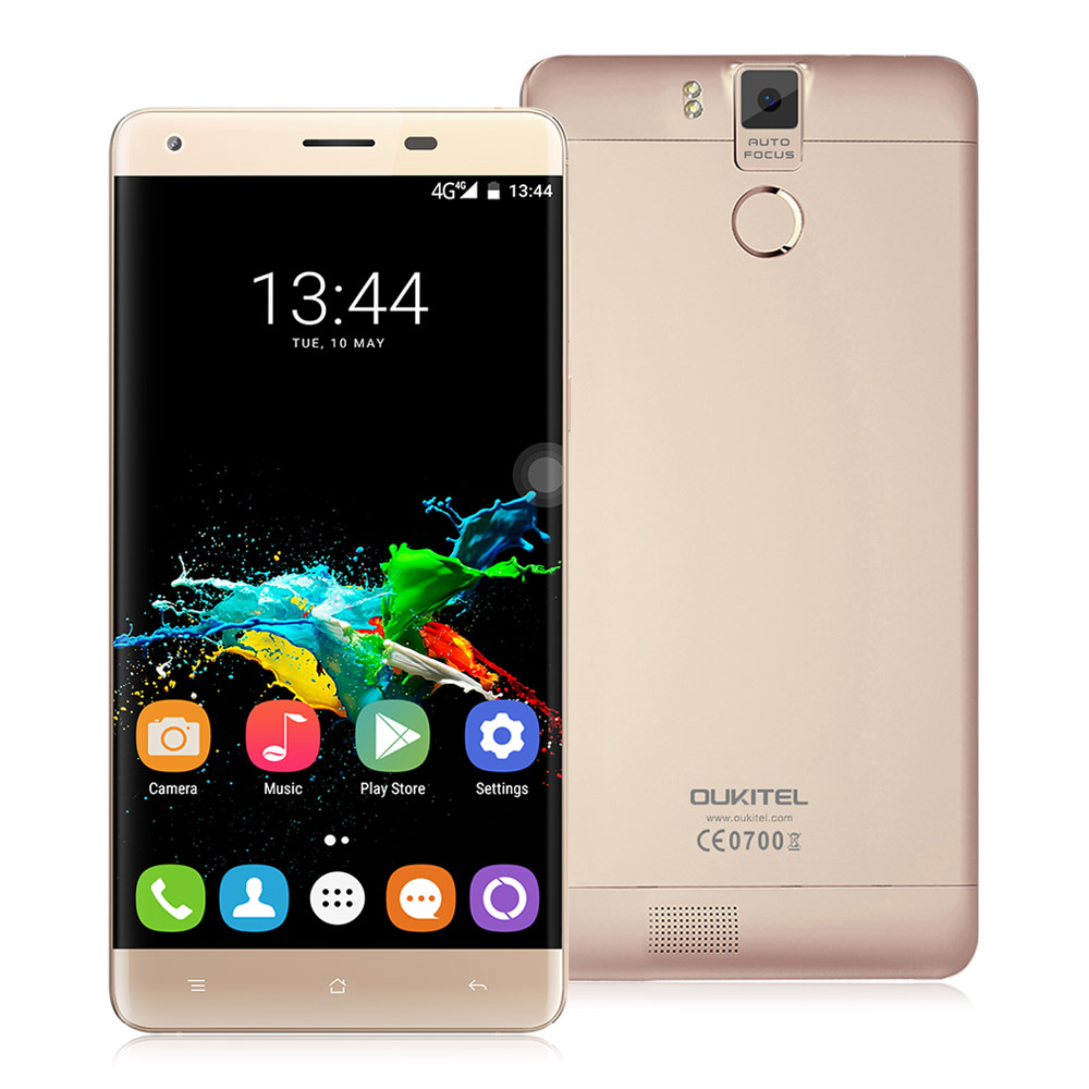 OUKITEL K6000 Pro 5.5inch LTPS 2.5D FHD 4G 6000mAh Android 6.0 Smartphone 64-Bit MTK6753 Octa Core 3GB 32GB 16.0MP Touch ID Flash Charge OTG - Gold