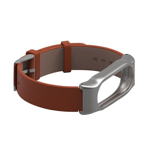 Mijobs Replaceable Leather Wrist Strap for Xiaomi Mi Band 2 Smart Bracelet - Brown