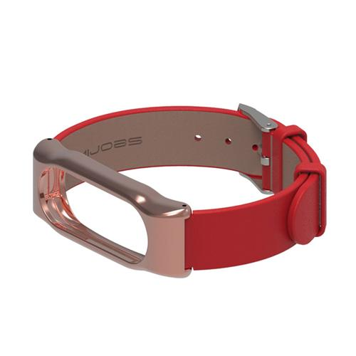 Mijobs Replaceable Leather Wrist Strap for Xiaomi Mi Band 2 Smart Bracelet - Red