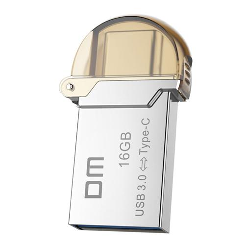 DM PD019 16GB Metal U Disk with USB 3.0 & Micro USB OTG Type-C 3.1 Dual Interfaces Flash Drive - Silver
