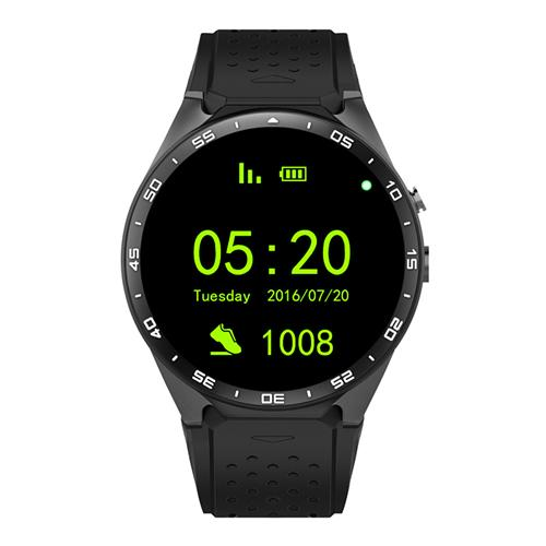 KingWear KW88 3G WiFi Smart Watch Phone Bluetooth 4.0 MTK6580 Heart Rate Monitor GPS Google Play Google Now 512MB RAM 4GB ROM 2.0MP Camera for Android iOS - Black
