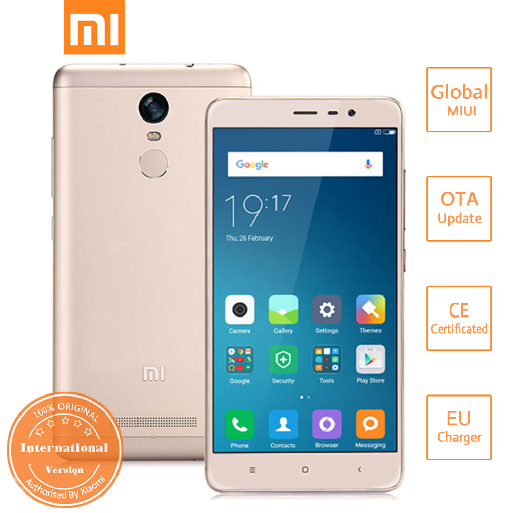Xiaomi Redmi Note 3 Pro 5.5 Inch FHD 3GB 32GB Smartphone Qualcomm Snapdragon 650 Hexa Core MIUI 8 16.0MP TOUCH ID International Version - Gold