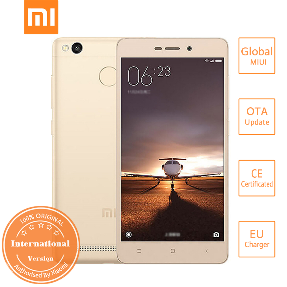 XIAOMI Redmi 3S 5.0inch HD 4G LTE MIUI 8 Smartphone Qualcomm Snapdragon 430 Octa Core 3GB 32GB 13.0MP Touch ID Fast Charge 4100mAh International Version - Gold