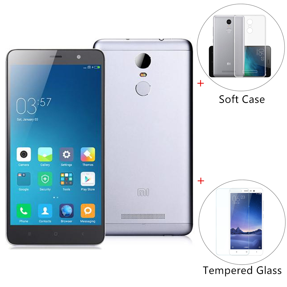 [Package B]Xiaomi Redmi Note 3 Pro 5.5 Inch FHD 3GB 32GB Qualcomm Snapdragon 650 Smartphone International Version - Dark Gray + Tempered Glass + Soft Case