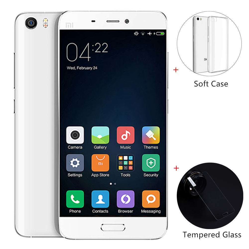 [Package B]Xiaomi Mi5 5.15inch FHD Android 6.0 OS 3GB 32GB 4G LTE 64-Bit Qualcomm Snapdragon 820 Quad Core 3D Glass Cover Smartphone(White) + Soft Case + Tempered Glass