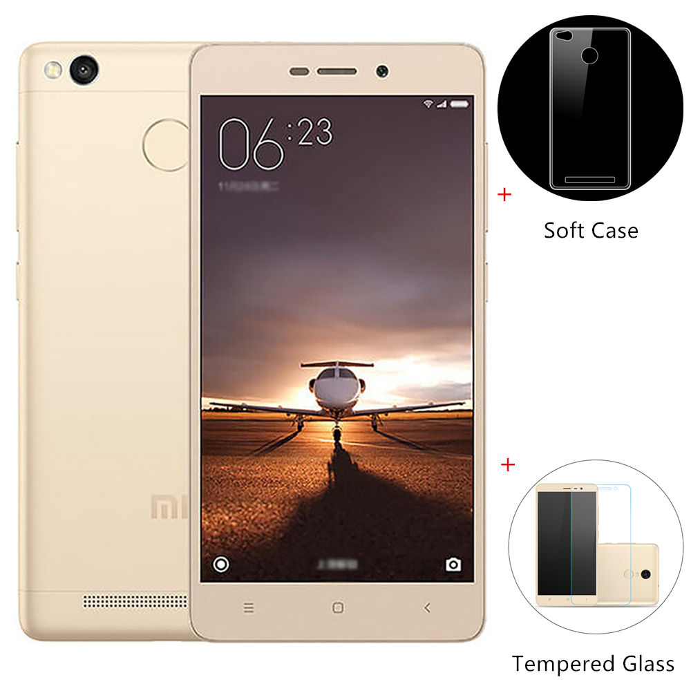 [Package B]XIAOMI Redmi 3S 5.0inch HD 4G LTE MIUI 8 Qualcomm Snapdragon 430 Octa Core 3GB 32GB Smartphone International Version - Gold + Soft Case + Tempered Glass