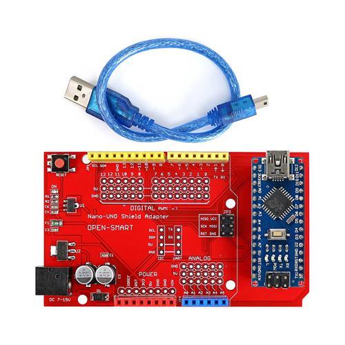Nano-UNO Shield Adapter + Nano Development Board for Arduino