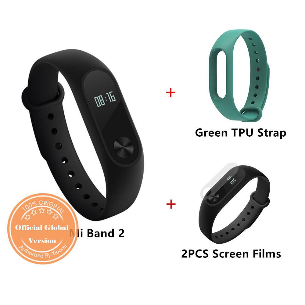 Package C]Original Xiaomi Mi Band 2 Smart Bracelet Global Version + TPU Strap (Green) + Protective Screen Films (2PCS