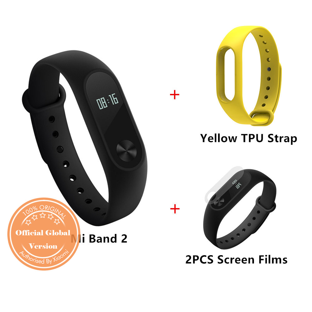 [Package F]Original Xiaomi Mi Band 2 Smart Bracelet Global Version + TPU Strap (Yellow) + Protective Screen Films (2PCS)