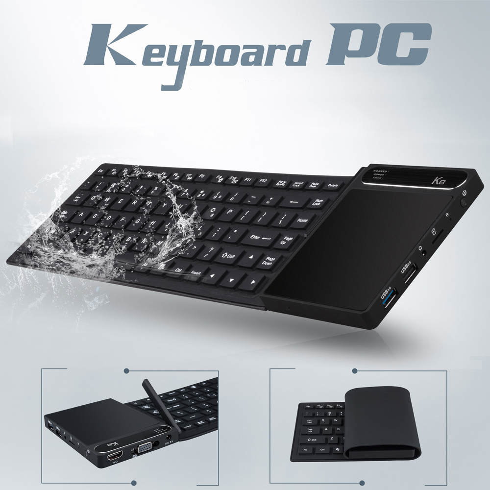 K8 Foldable Keyboard MINI PC with Touchpad Intel Z8300 4G/64G 2.4G/5G WIFI Multitouch HDMI+VGA Dual Output Bluetooth USB3.0