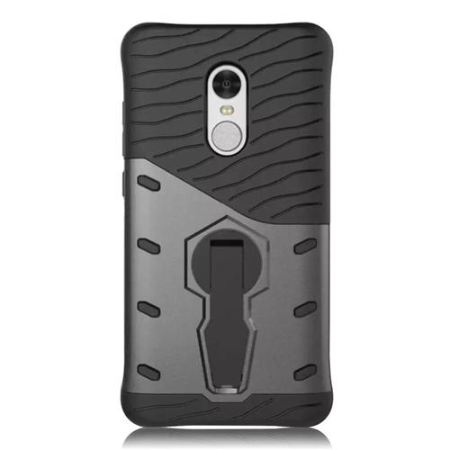 Armour Series Protective Phone Case 360 Degree Rotating Bracket Stand Cover For Xiaomi Redmi Note 4 - Black
