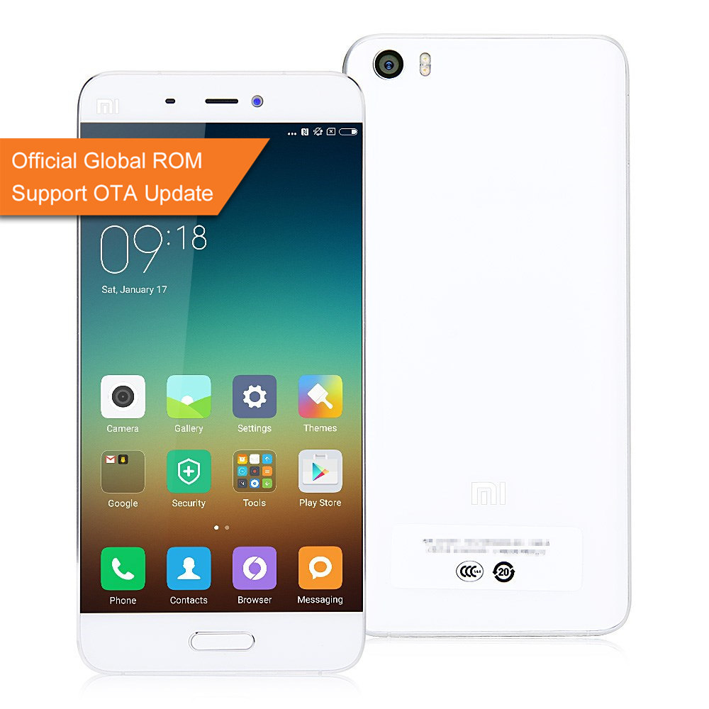 Xiaomi Mi5 5.15inch FHD Android 6.0 OS 3GB 32GB 4G LTE Smartphone 64-Bit Qualcomm Snapdragon 820 Quad Core Type-C 3D Glass Cover Global ROM - White