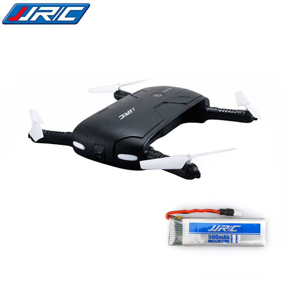 Bundle JJRC H37 Elfie Foldable Pocket Selfie Drone Black + Extra 3.7V 500mAh Battery