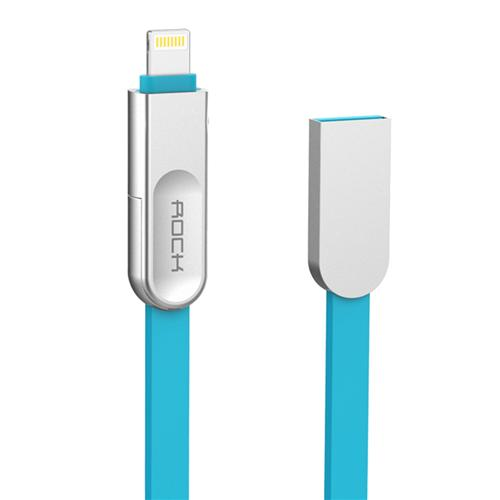 Rock 1M Micro + 8Pin Interface 2 In 1 USB Charging And Sync Zinc Alloy Cable For IOS And Android - Blue