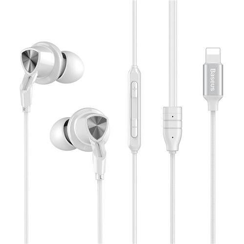 Baseus P04 Digital Wire Control Handsfree 8 Pin Музыкальный наушник с микрофоном для iPhone iPAD с iOS 10 или выше - белый