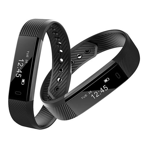 Makibes ID115 Smart Bracelet Fitness Tracker Step Counter Activity Monitor Band Alarm Bluetooth Wristband for iOS Android -Black