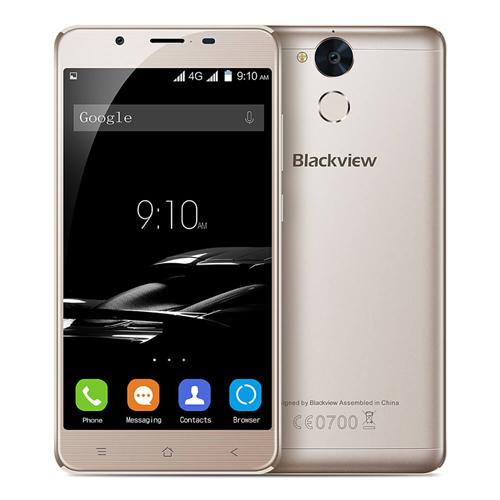 Blackview P2 5.5 Inch FHD 2.5D Arc Screen Android 6.0 4G LTE Smartphone 4GB RAM 64GB ROM MT6750T 64-Bit Octa Core 13.0MP Touch ID 6000mAh Battery - Gold