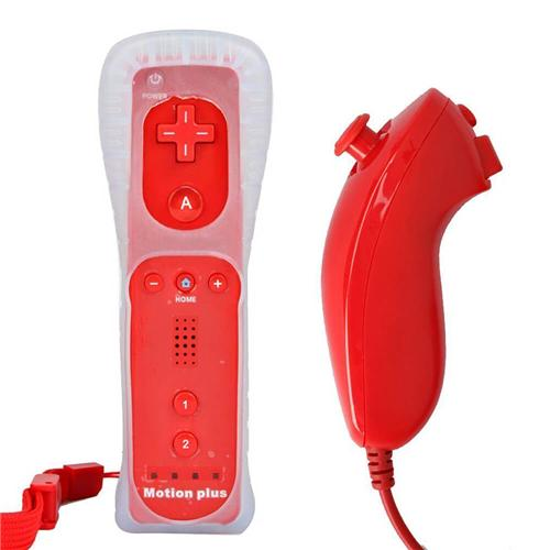 ACGAM Wii Remote and Nunchuk Controller - Red