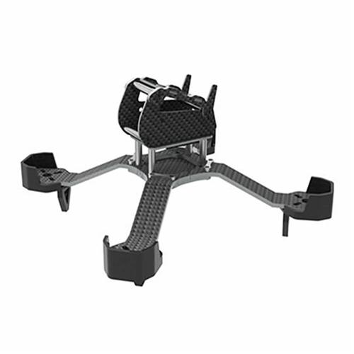 Awesome TS-195 195mm 3.5mm Thickness 28 Degree Curved Arm Carbon Fiber Frame Kit for FPV Racing Drone - Silver and Black