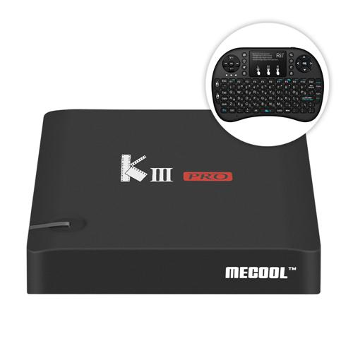 Bundle MECOOL KIII PRO DVB-T2/S2/C YouTube 4K TV BOX + Rii i8+ 2.4G Wireless Israel Hebrew Language Keyboard Black