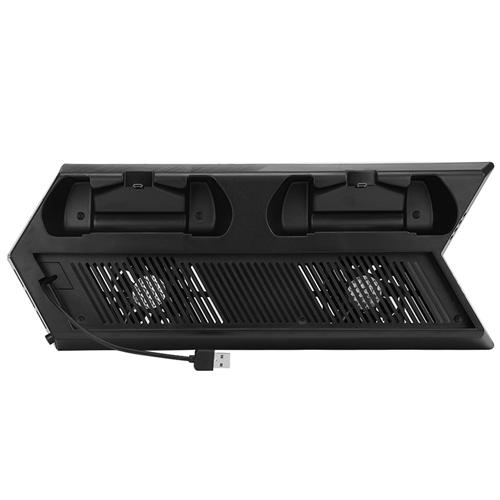 4in1 Controller Charging Station Vertical Stand with Dual Cooling Fans Charging Indicator LED Light for PS4 Pro - Black