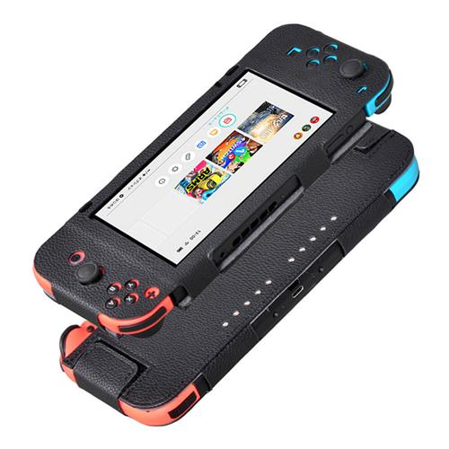 PU Leather Case Cover Litchi Pattern for Nintendo Switch 6.2 Inch - Black