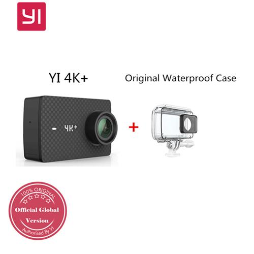 "YI 4K+ Action Camera 2.19"" Ambarella H2 SONY IMX377 12MP 4K Ultra HD 155 Degree Wide Angle 1200mAh Built-in Battery International Version  With Original Waterproof Case - Black"