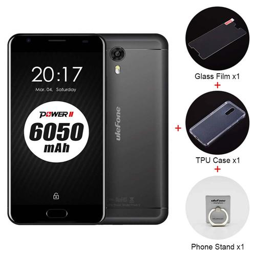 Ulefone Power 2 5.5 Inch FHD Screen 4GB RAM 64GB ROM 13MP Cam MT6750T Octa Core 4G LTE Android 7.0 Smartphone Touch ID 6050mah Big Battery VoLTE - Black