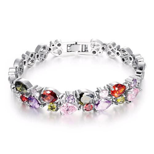 OPK DS950 Multicolor Cubic Zirconia Woman Bracelet Length 17.5CM - Silver