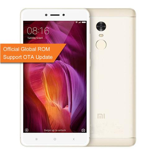 Xiaomi Redmi Note 4 Pro 5.5inch FHD 2.5D Arc Screen MIUI 8 4G LTE Smartphone Helio X20 MT6797 Deca Core 3GB RAM 64GB ROM 13.0MP Touch ID 4100mAh Metal Body - Gold