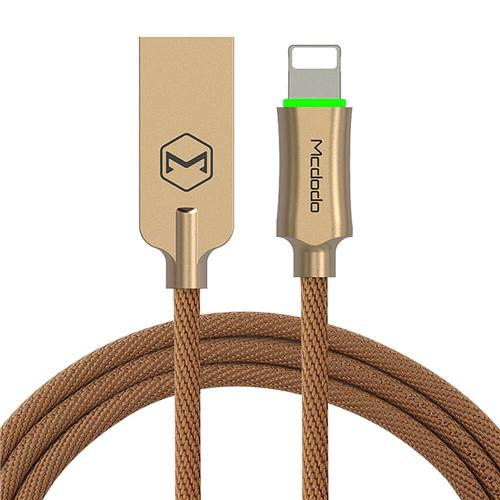 MCDODO CA-3900 Nylon Alloy Intelligent Power Off 1.2m 8 Pin Data Transfer LED Notification Charging Cable - Gold