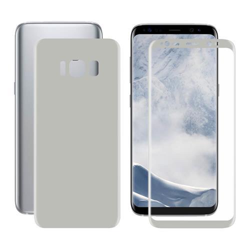 ENKAY Chapeau-Prince 0.1 mm 3D PET HD Avant + Retour Film de Protection Ecran pour Galaxy S8 - Argent