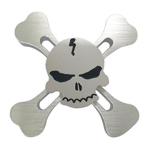 Fidget Hand Spinner Skull Aluminum Alloy R188 Bearing Stress Reliever Focus Gift Toys - Silver