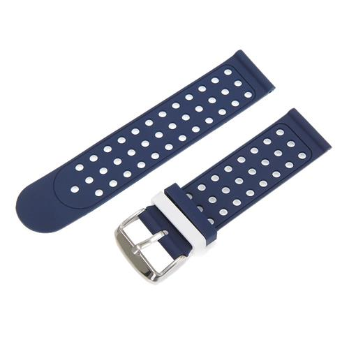 Universal 22mm Replacement Silicon Watch Bracelet Strap Band with Hole For Xiaomi Huami Amazfit - Blue White