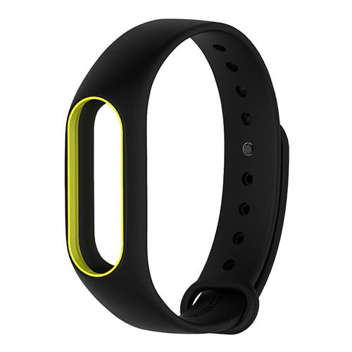 Replacement Silicon Bracelet Strap Band For Xiaomi Mi Band 2 - Black Yellow