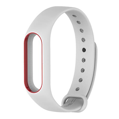 Replacement Silicon Bracelet Strap Band For Xiaomi Mi Band 2 - White Red