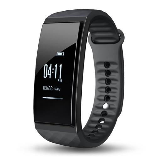 Cubot S1 Smart Wristband Bluetooth Heart Rate Monitor Air Pressure/Temperature Monitor Health Tracker IP67 Water Resistant Compatible with iOS Android - Black