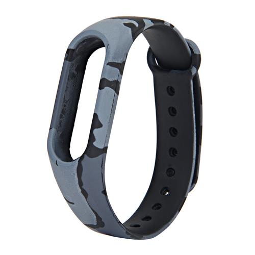 Replacement Camouflage Silicon Bracelet Strap Band For Xiaomi Mi Band 2 - Gray