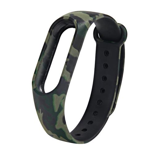 Replacement Camouflage Silicon Bracelet Strap Band For Xiaomi Mi Band 2 - Green