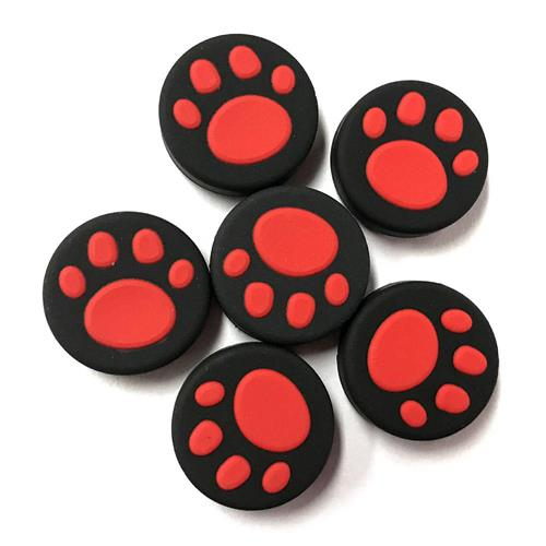 6PCS Silicone Gamepad Thumb Grips Joystick Cover for Nintendo Switch - Red + Black