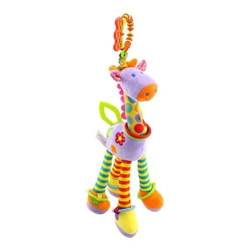 Soft Giraffe Animal Handbells Rattles Handle Toys Baby Toy - Violet