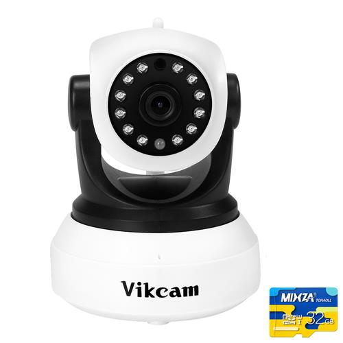 Vikcam C7824WIP WiFi 720P IP Camera with 32GB TF Card Built-in IR-cut ONVIF2.0 Motion Detection Night Vision P2P PT CMOS Sensor Security Camera -White