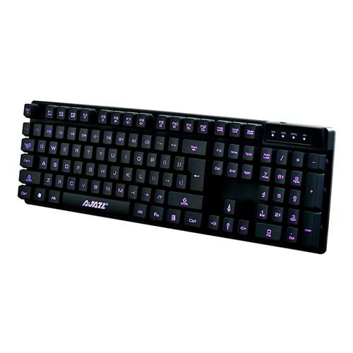 Ajazz K-1 Wired Keyboard Cyborg Soldier Tri-color Controllable Backlit Gaming Membrane Keyboard Brown Switch - Black