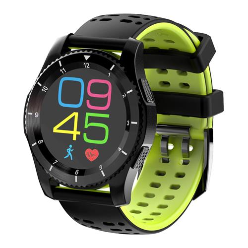 No.1 GS8 Smartwatch Phone MTK2502 Bluetooth 4.0 SIM Card Call Message Reminder Heart Rate Monitor Compatible with Android iOS - Black + Green