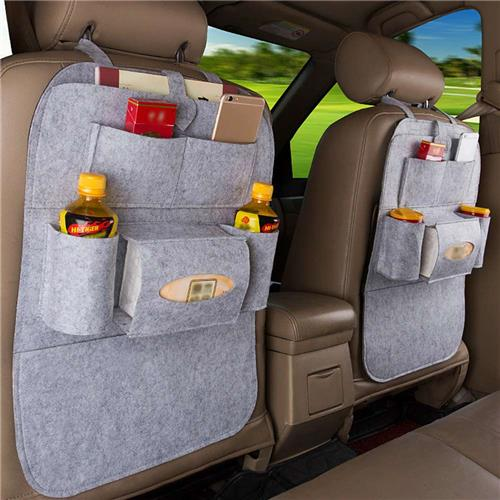 Car Seat Back Hanging Multi-function Car Storage Bag Seat Backpack - Light Gray