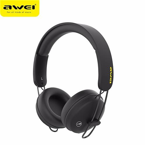 AWEI A800BL Wireless Bluetooth Headphones with Mic Noise Reduction Headset - Black