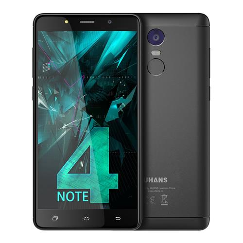 UHANS Note 4 5.5 Inch Smartphone HD Screen 3GB RAM 32GB ROM 13.0MP Cam  MTK6737 Quad Core Android 7.0 Touch ID 4000mAh - Black