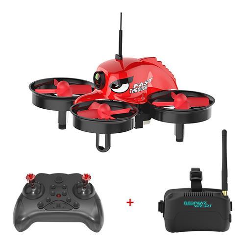 Redpawz R011 5.8G 40CH Micro FPV Racing Drone con 1000TVL FOV 120 Degree Cámara gran angular 3 Inch VR-D1 Goggles - RTF