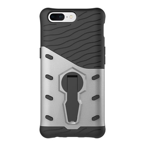 Silver OnePlus 5 Case Armour Series Protective Phone Case 360 Degree Rotating Bracket Stand Cover