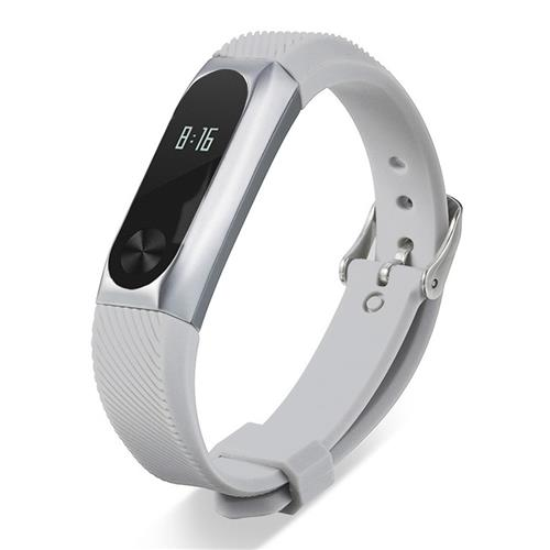 Xiaomi Mi Band 2 Stylish Silicone & Metal Replacement Wristband Strap - Silver